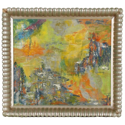 Abstract Expressionist Style Oil Painting, Late 20th Century