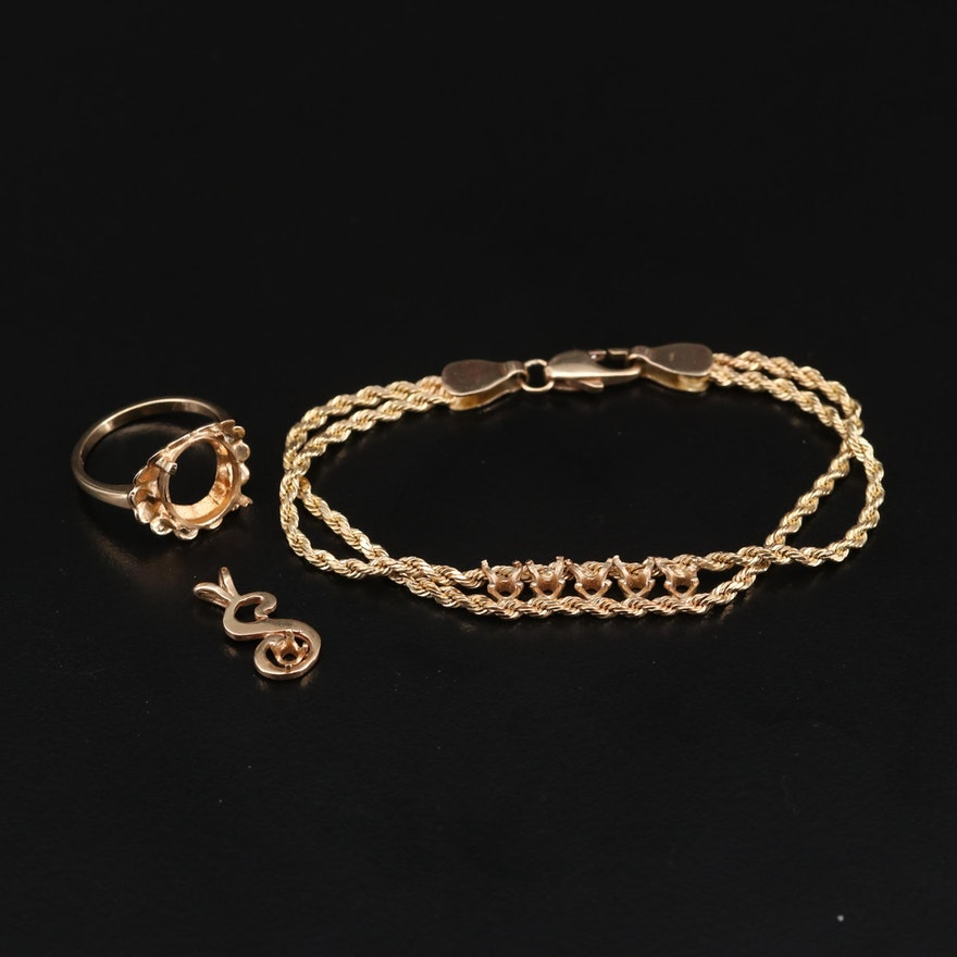 14K Gold Jewelry Selection Featuring Pendant, Bracelet, and Ring Mountings