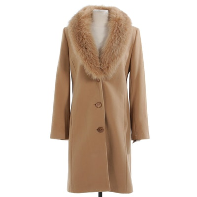 Sachi Collection Lambswool Blend Overcoat with Saga Fox Fur Collar