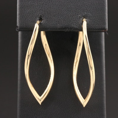 14K Yellow Gold Elongated Earrings