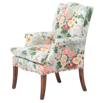Federal Style Floral-Upholstered and Mahogany-Stained Armchair, 20th Century