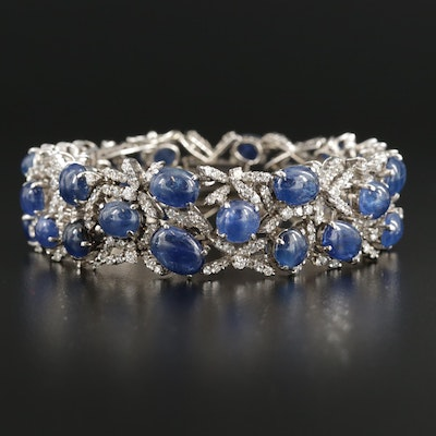Vintage 14K White Gold 43.07 CTW Sapphire and 6.48 CTW Diamond Bracelet
