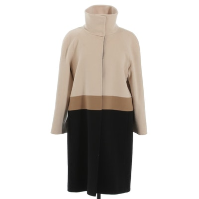 Fleurette Loro Piana & C. Color Block Wool Coat