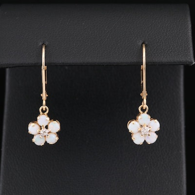 14K Yellow Gold Opal and Diamond Floral Earrings