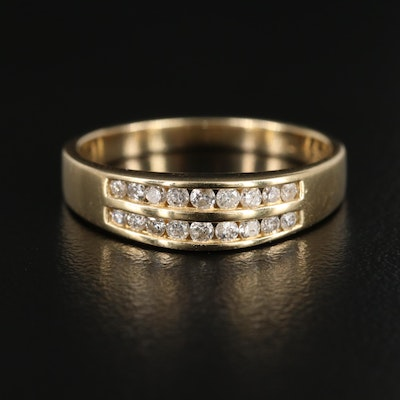 14K Yellow Gold Channel Set Diamond Ring