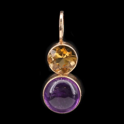 14K Yellow Gold Amethyst and Citrine Pendant