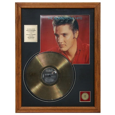 "Elvis Presley 24 KT Gold Plate Vinyl Record ""Number One Hits"" In Frame"