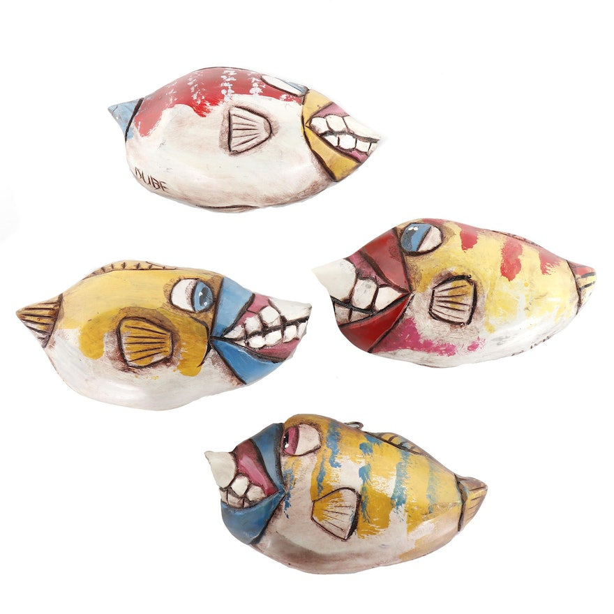Hand-Carved and Painted Folk Art Coconut Husk Fish