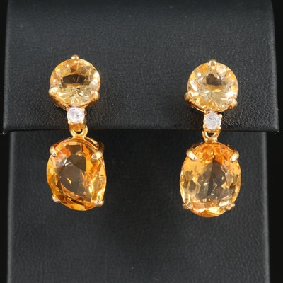 18K Yellow Gold Citrine Dangle Earrings