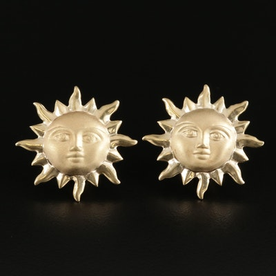 14K Yellow Gold Sun Button Earrings
