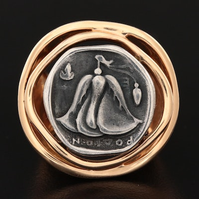 18K Yellow Gold Ring with Ancient Greek Silver Drachma Reproduction Coin