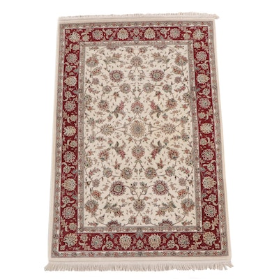 4'1 x 6'6 Hand-Knotted Chinese Floral Wool Rug