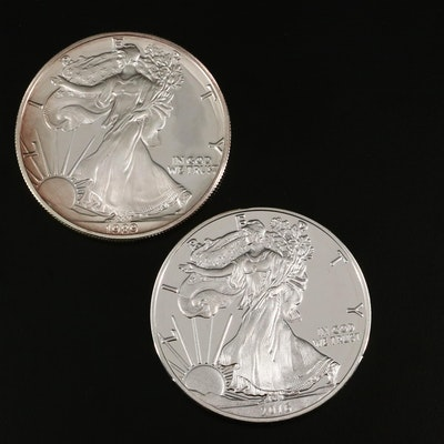 Two $1 U.S. Silver Eagle Proof Coins Including 1989-S and 2016-W