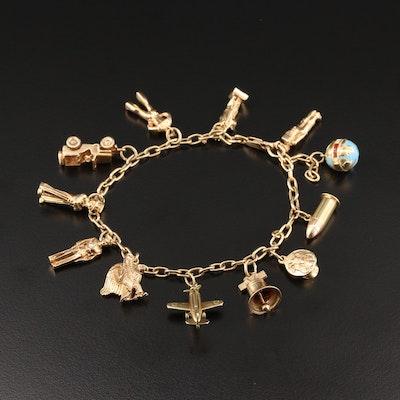 Vintage 14K Yellow Gold Patriotic Charm Bracelet