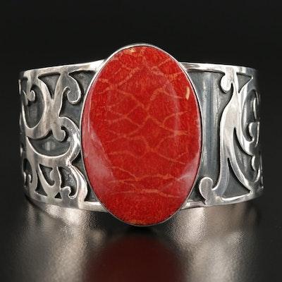 Sterling Silver Sponge Coral Scrollwork Cuff Bracelet