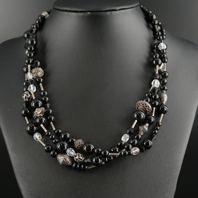 Glass and Black Onyx Beaded Necklace with Sterling Silver Clasp