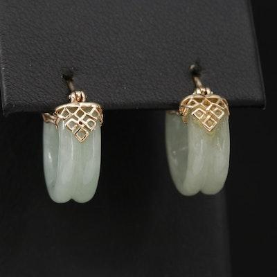 14K Yellow Gold Carved Jadeite Hoop Earrings