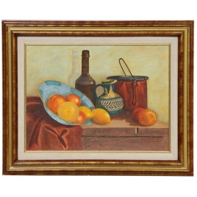 F. Carlson Still Life Oil Painting, 1984
