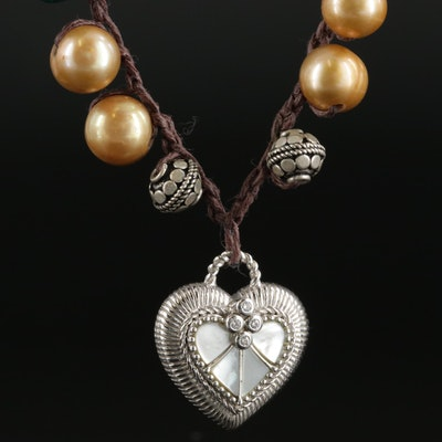 Judith Ripka Sterling Heart Pendant on Cultured Pearl and Gemstone Cord Necklace