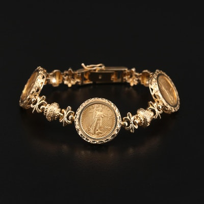 14K Yellow Gold Bracelet Featuring Gold Eagle Bullion Coins