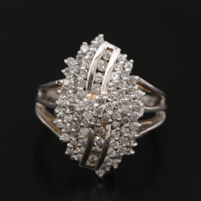 14K White Gold 1.21 CTW Diamond Cluster Ring