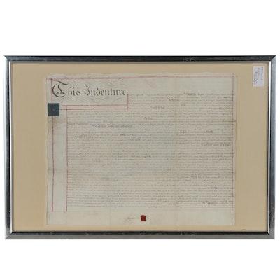 Hand-Calligraphed English Indenture Document on Vellum, 1815
