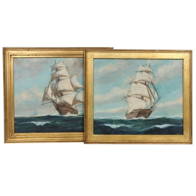 T. Bailey Clipper Ship Oil Paintings, Early to Mid 20th Century