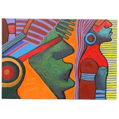 Farnoosh Lanjani Tribal Figures Oil Painting, Late 20th Century