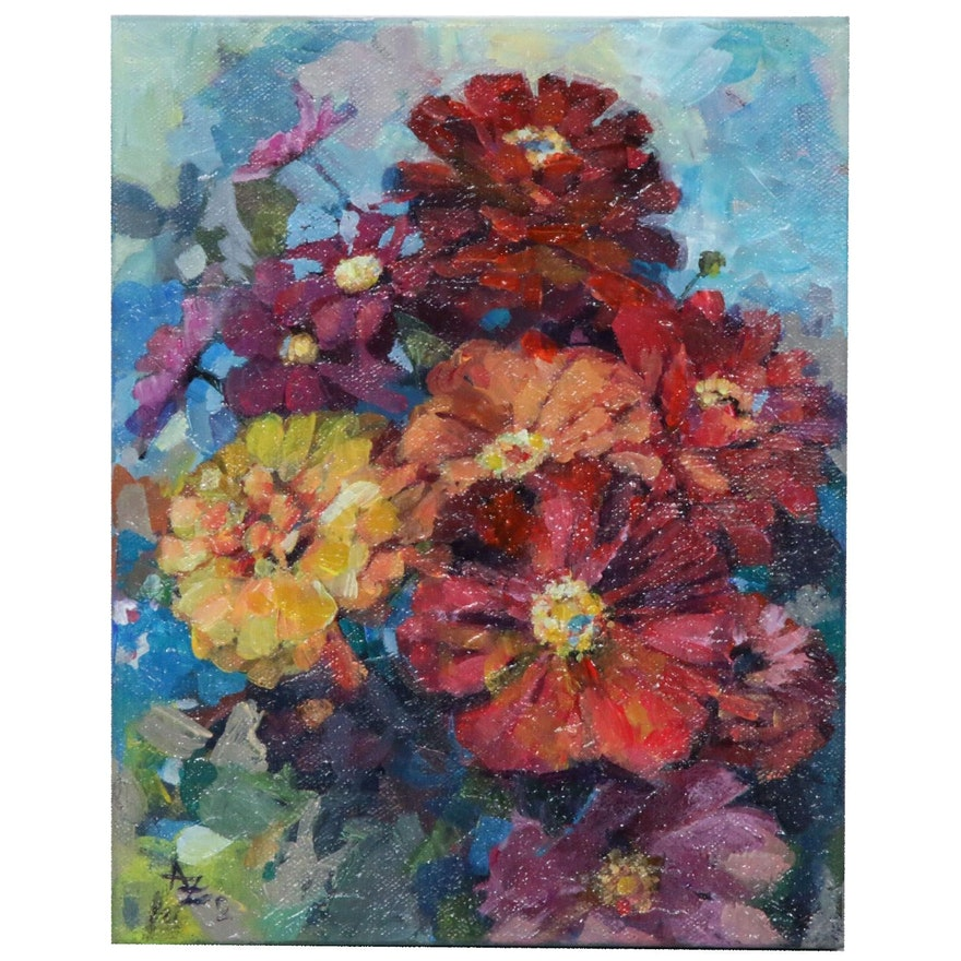 "Alexandra Zecevic Acrylic Painting ""Late Summer Blooms,"" 2020"