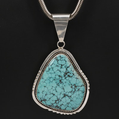 Signed Southwestern Sterling Silver Turquoise Pendant Necklace