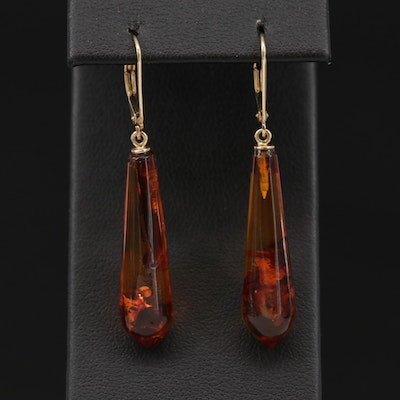 14K Yellow Gold Amber Drop Dangle Earrings