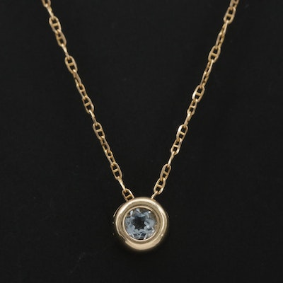 14K Yellow Gold Aquamarine Pendant on Mariner Chain