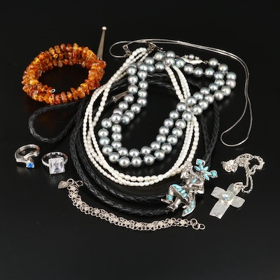 Jewelry Selection Featuring Roman Glass, Amber, Pearl, and Sterling Silver