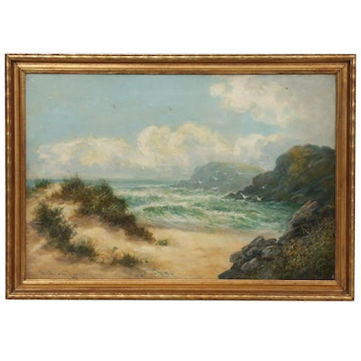 William Langley Beach Landscape Oil Painting, Late 19th to Early 20th Century