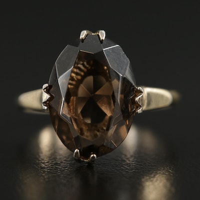 Antique Sterling Silver Smoky Quartz Ring