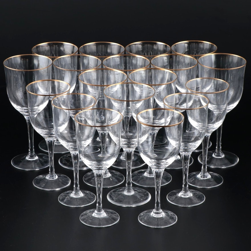 """Noritake """"Troy"""" Crystal Water Goblets and Wine Glasses, Late 20th Century"""