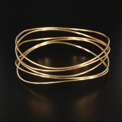 "Elsa Peretti for Tiffany & Co. ""Wave Five-Row"" 18K Yellow Gold Bangle Bracelet"