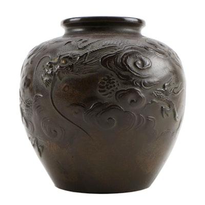 Japanese Style Cast Metal Vase