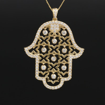 14K Yellow Gold Diamond Hamsa Pendant Necklace
