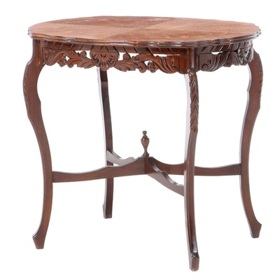 Victorian Style Walnut Table with Marquetry, circa 1930