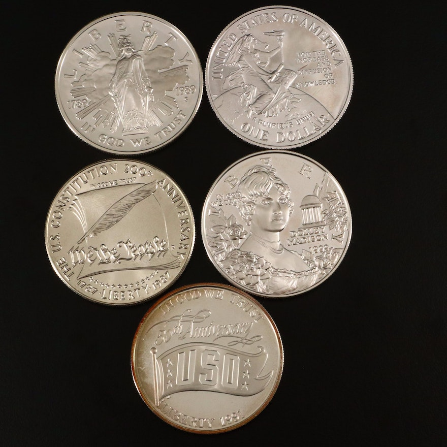Five U.S. Commemorative Silver Dollars Including  1991-S USO Proof