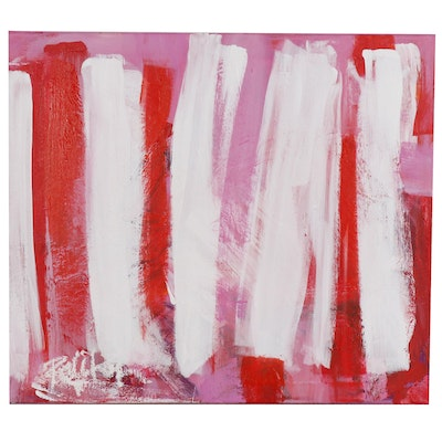 "Robbie Kemper Acrylic Painting ""White Pink Orange Verticals"""