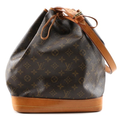 Louis Vuitton Large Noé Drawstring Bucket Bag in Monogram Canvas and Leather
