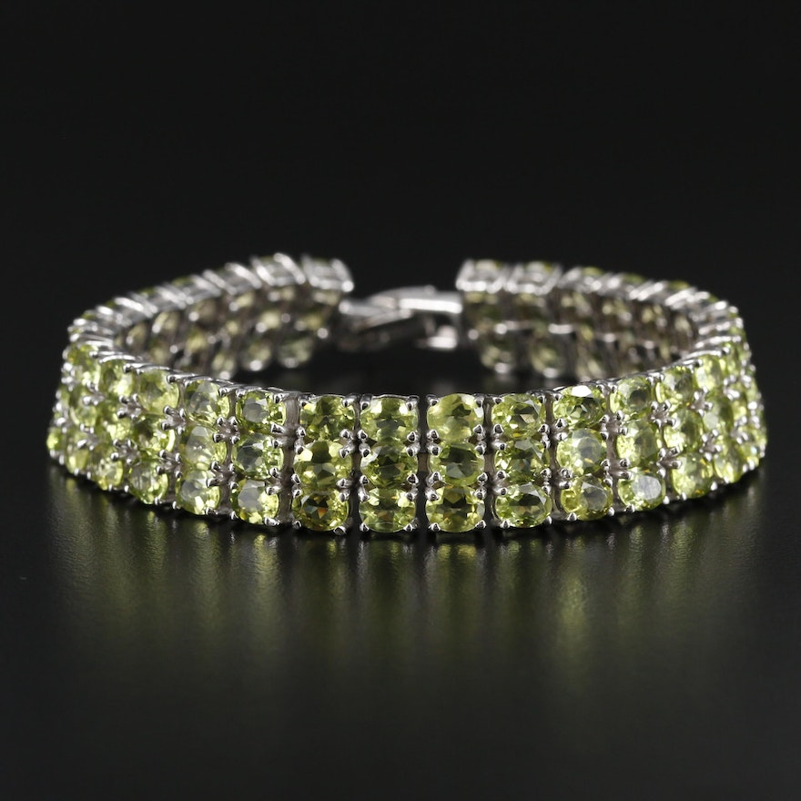 Sterling Silver Peridot Triple Row Bracelet