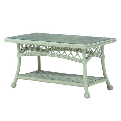 Contemporary Painted Wicker Glass Top Table