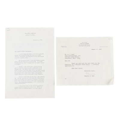 Signed Letters From William J. Keating and Charles P. Taft, Cincinnati, Ohio