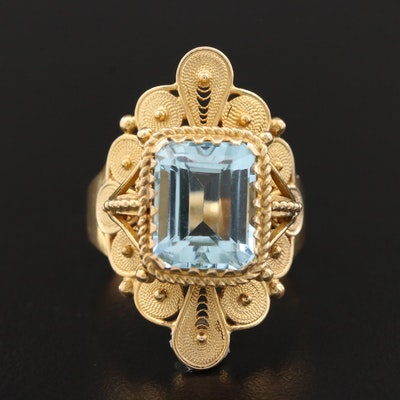 Vintage Cannetille 18K Yellow Gold Aquamarine Ring