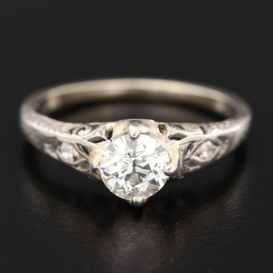 Edwardian Platinum Diamond Ring with 14K Gold Accent