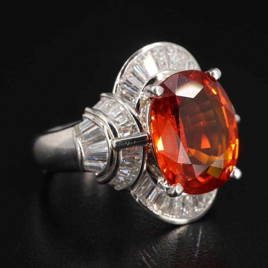 Platinum 8.39 CT Sapphire and 1.94 CTW Diamond Ring