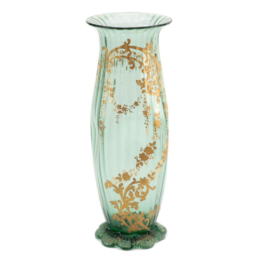 Pinched Green Art Glass Vase with Hand-Painted Floral Decoration
